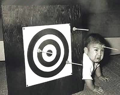 Aim At The Target, Not The Forehead - Funny Pictures and Images