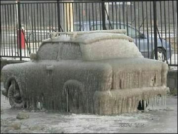 One frozen car - Funny Pictures and Images