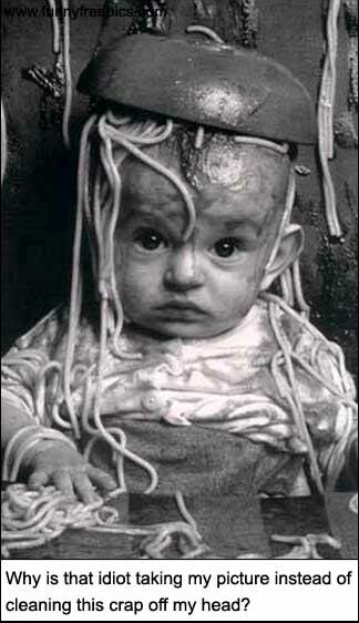 Spaghetti and baby - Funny Pictures and Images